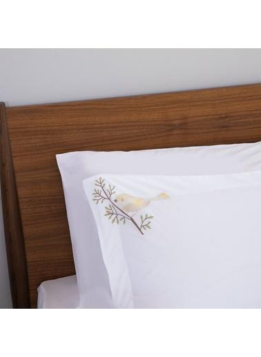Chakra Bird Nevresim Seti Ekstra Çift Kişillik Beyaz Beyaz